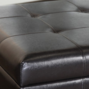 Ruston Black Leather Storage Ottoman