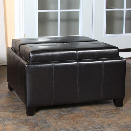 Mansfield Leather Espresso Tray Top Storage Ottoman