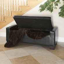 Guernsey Black Leather Storage Ottoman Bench