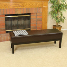 Melrose Brown Leather Ottoman Bench