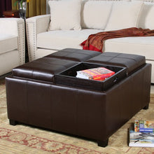 Dartmouth Espresso Leather Tray Storage Ottoman