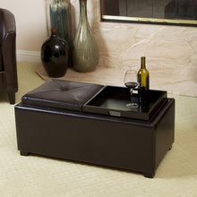 Maxwell Espresso Leather Tray Ottoman Coffee Table