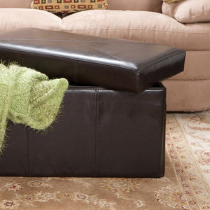 Nottingham Brown Leather Folding Storage Ottoman
