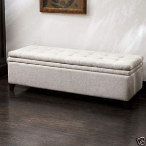 Brighton Off-White Linen Storage Ottoman Bench