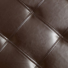 Mellen Tufted Brown Leather Storage Ottoman Bench