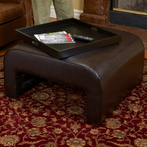 Wilson Brown Leather Tray Ottoman Coffee Table