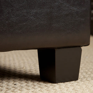 Linley Tufted Espresso Leather Storage Ottoman