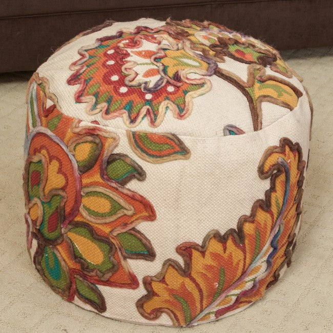 Florence Embroidered Multi-Colored Pouf Ottoman