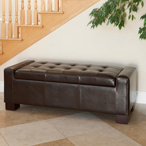 Guernsey Brown Leather Storage Ottoman Bench