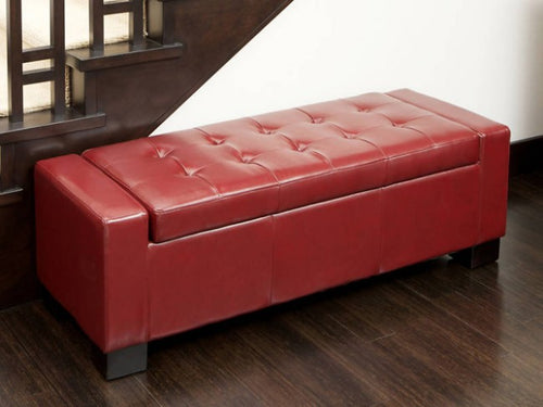 Guernsey Red Leather Storage Ottoman Bench