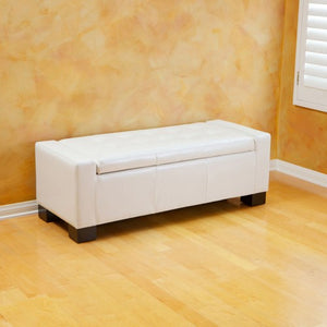 Guernsey Cream Leather Storage Ottoman Bench
