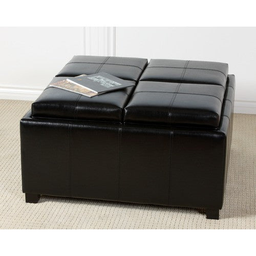 Dartmouth Black Leather Tray Storage Ottoman
