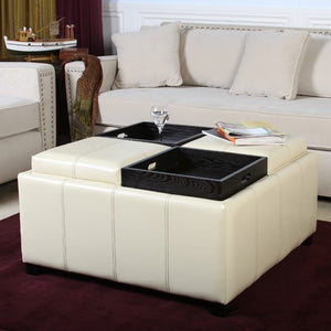 Dartmouth Cream Leather Tray Storage Ottoman