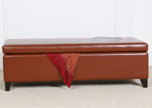York Saddle Brown Leather Storage Ottoman Bench