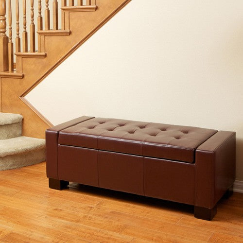 Guernsey Henna Brown Leather Storage Ottoman Bench