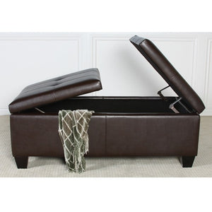Alfred Brown Leather Storage Ottoman Coffee Table