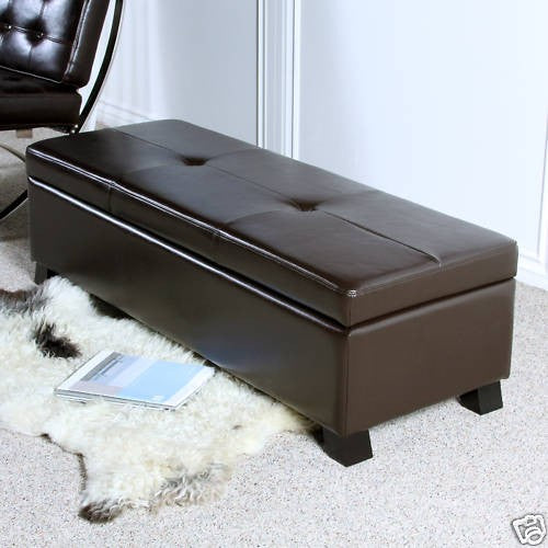 Cambridge Brown Leather Storage Ottoman Bench