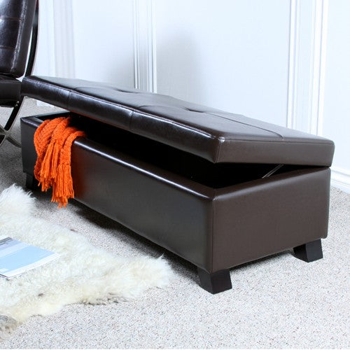 Brilliant Cambridge Brown Leather Storage Ottoman Bench Alphanode Cool Chair Designs And Ideas Alphanodeonline