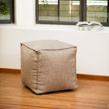 Luther Tan Fabric Cube Pouf