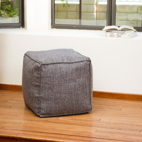 Luther Gray Fabric Cube Pouf