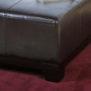 Darlington Espresso Brown Leather Cocktail Ottoman