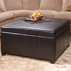 Forrester Brown Leather Square Storage Ottoman