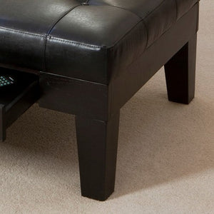 Chatham Black Leather Storage Cocktail Ottoman