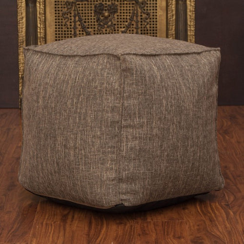 Luther Brown Fabric Cube Pouf