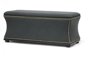 Liverpool Dark Gray Modern Storage Bench Ottoman