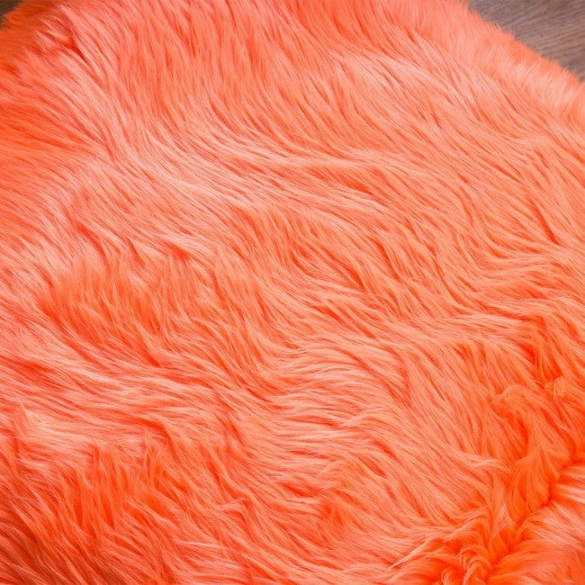 Skyler Orange Faux Fur Cube Accent Pouf
