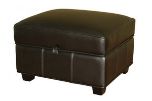 Garland Black Leather Storage Ottoman