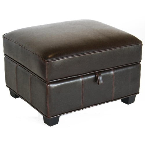Garland Dark Brown Leather Storage Ottoman