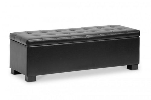 Roanoke Black Storage Ottoman Bench