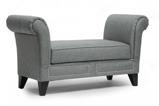Marsha Gray Linen Modern Scroll Arm Bench