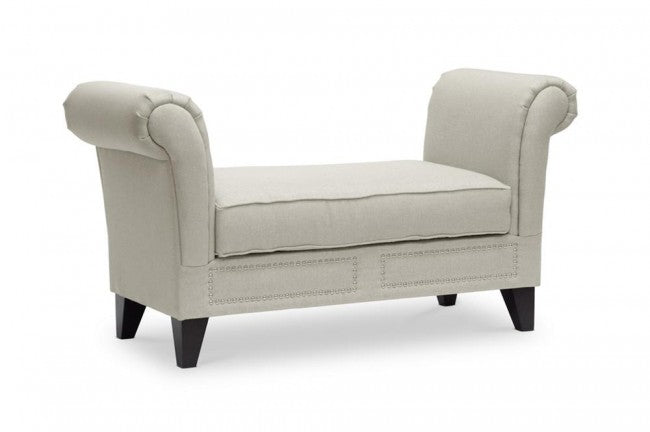 Marsha Beige Linen Modern Scroll Arm Bench