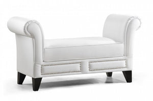 Marsha White Modern Scroll Arm Bench