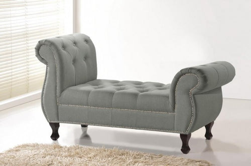 Ipswich Gray Tufted Linen Bench