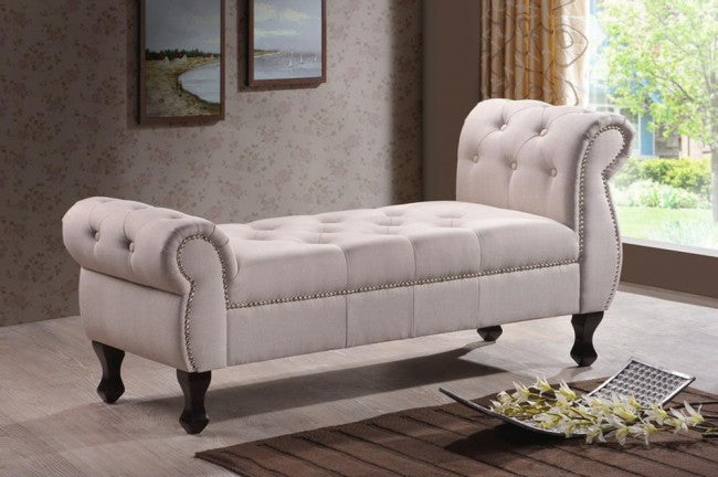 Ipswich Beige Tufted Linen Bench