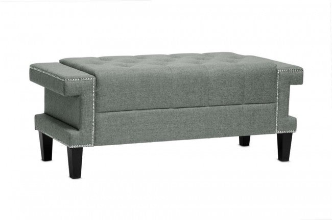 Cheshire Gray Modern Tufted Linen Bench