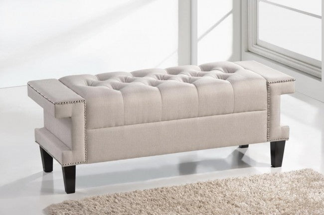 Cheshire Beige Modern Tufted Linen Bench