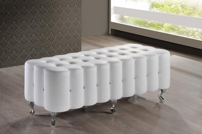Constellations White Modern Tufted Bench