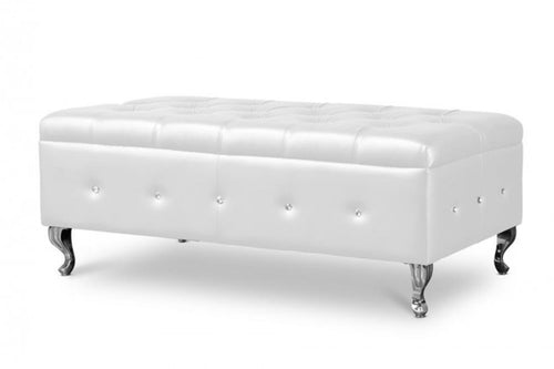 Berkem White Modern Tufted Bench