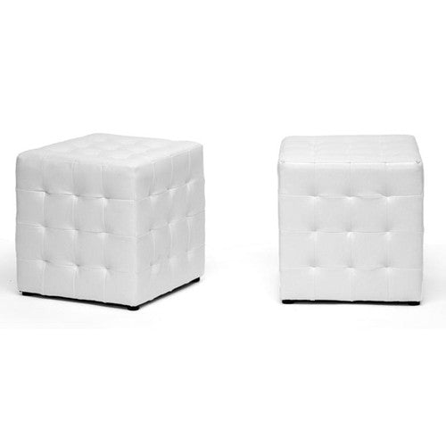 Faline White Modern Cube Ottoman (Set of 2)