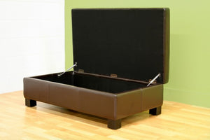Marcelino Dark Brown Leather Storage Ottoman