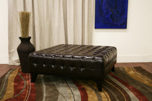 Beauregard Dark Brown Leather Square Ottoman