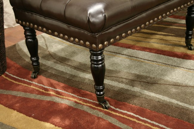 Excellent Faramond Dark Brown Bonded Leather Wheeled Bench Caraccident5 Cool Chair Designs And Ideas Caraccident5Info