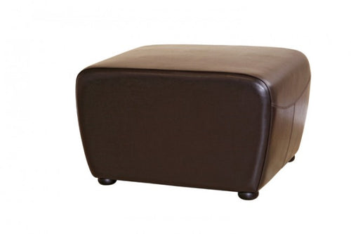 Oriane Dark Brown Leather Ottoman