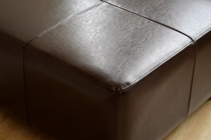 Sansone Dark Brown Square Leather Ottoman