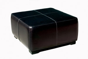 Sansone Black Square Leather Ottoman