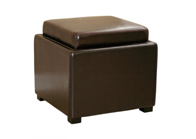 Bastien Dark Brown Leather Storage Ottoman